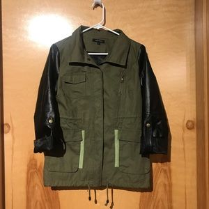 Olive Green Utility Jacket W/Faux Leather Sleeves